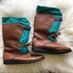 Vintage Aqua and Beige Boots